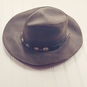 Boho Leather Brim Hat Henschel USA Brown Black